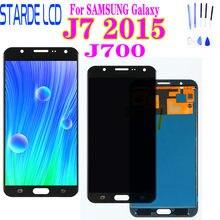 Pantalla LCD AAA para SAMSUNG Galaxy J7 2015 J700 J700F J700M J700H, montaje de digitalizador con pantalla táctil, negro, blanco y dorado
