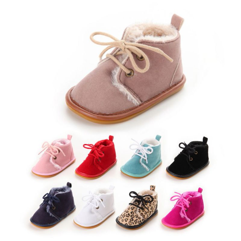 Baby Boots Super Warm PU Leather With Fur Winter Baby Shoes Lace Up Floral Printing Moccasins Toddler Girls Boys Snow Boots
