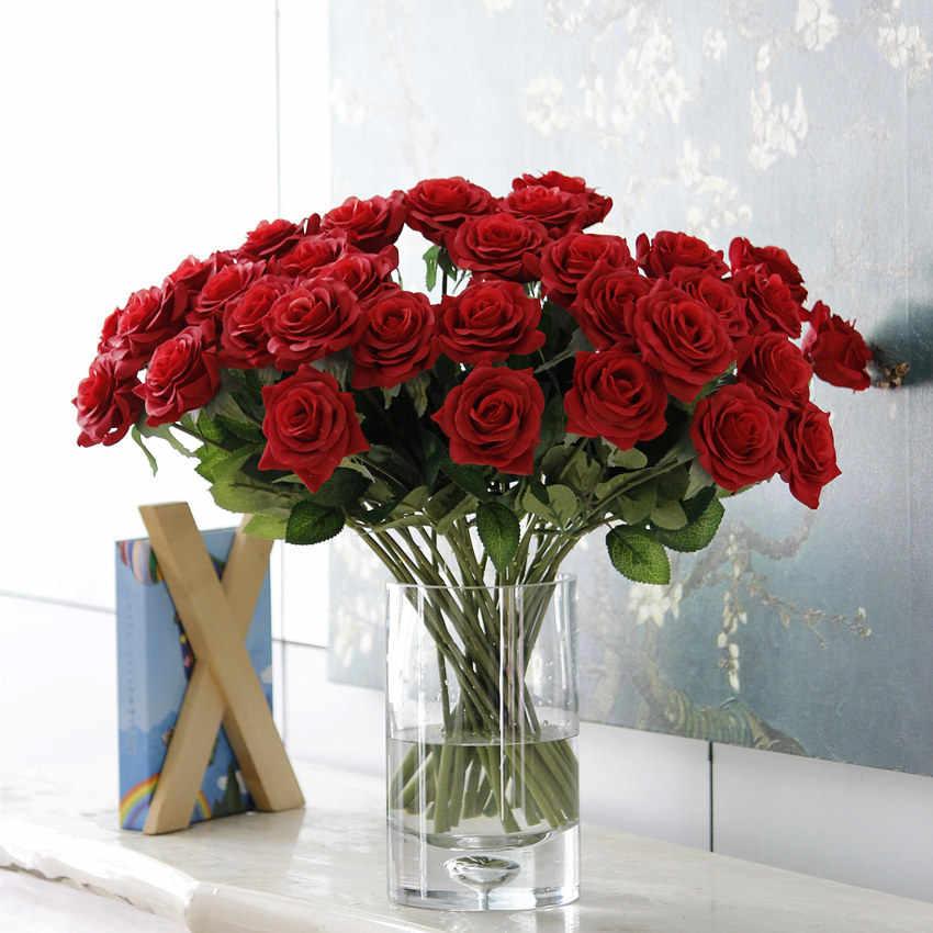 10 farben Künstliche Rose Blumen Hochzeit Braut Bouquet Silk Blumen Dekorative für DIY Home Decor Weihnachten Rose Blumen Geschenk