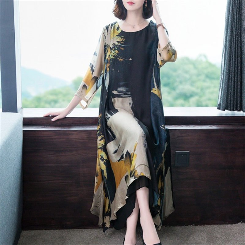 Fashion Ladies Print Dress Casual O-neck Seven Point Sleeve Spring Summer Dress Women Plus Size 4XL Loose Clothing Elbise F2726