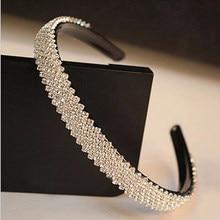 Diadema de cristal de lujo para mujer, bandana de diamantes de imitación de 15mm de ancho, accesorios para el cabello de novia, joyería de boda para baile de graduación