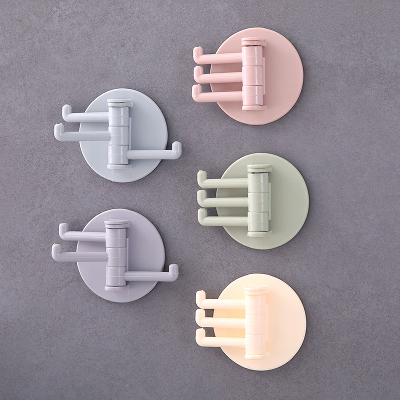 The New Seamless Paste 3 Branch Rotating Hook Hook Rack Kitchen Kitchen Bathroom Hanging Household Bathroom Accessories