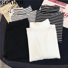 GCAROL Women T-shirt Turtleneck Striped Full Sleeve Stretch Tops Basic Drop Shoulder Undershirt Basic Perfect Pullover M-XL