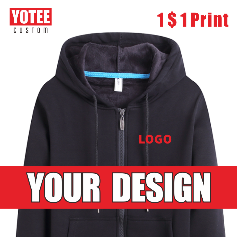 YOTEE 2020 autumn and winter thick trend LOGO custom sports zipper hoodie