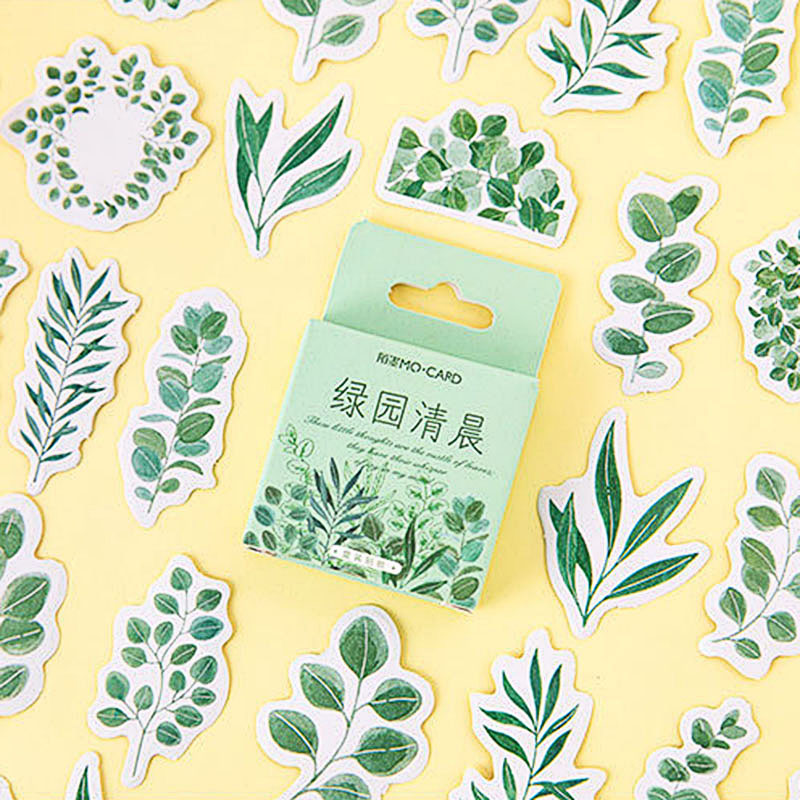 45Pcs Cute Plant Stickers Kawaii Stationery Stickers Green Sticker For Kids DIY Decor Scrapbooking Diary Albums Supplies
