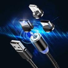 3 в 1 usb зарядный Магнитный кабель для мобильного телефона светодиодный провод быстрое зарядное устройство Kable для apple iphone 8 pin iOS Micro USB и type C