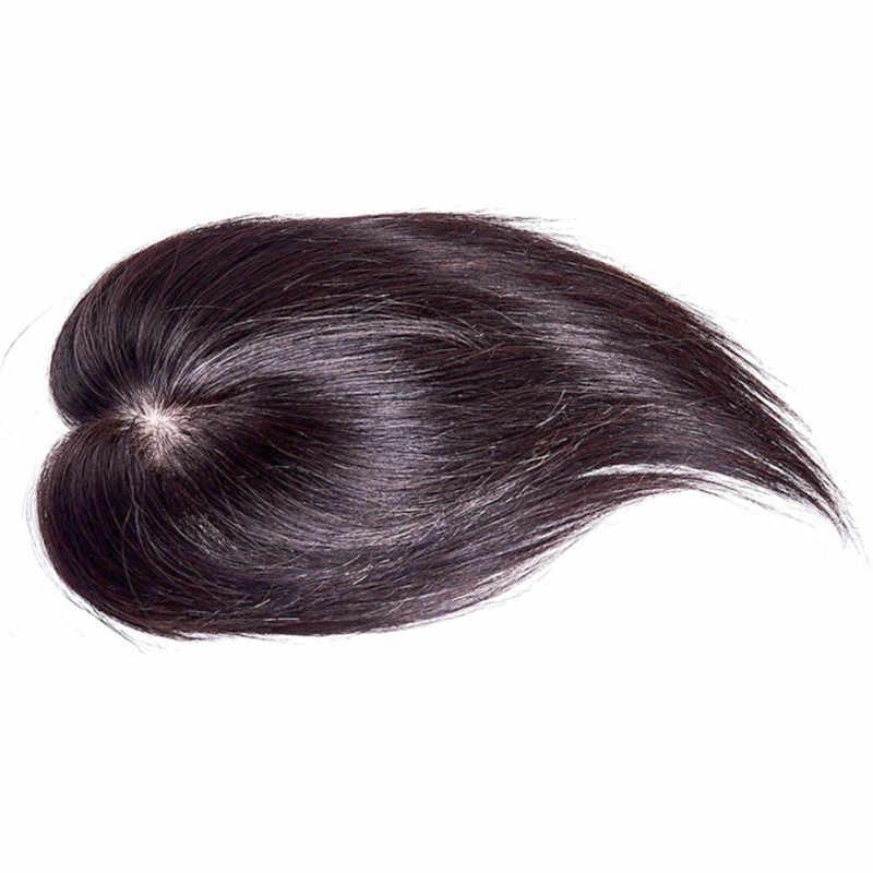 Menselijk Haar Topper Pruik Voor Vrouwen Straight Tussenliggende Zijde Basis Met Clips In Haar Toupet Remy Haarstukje