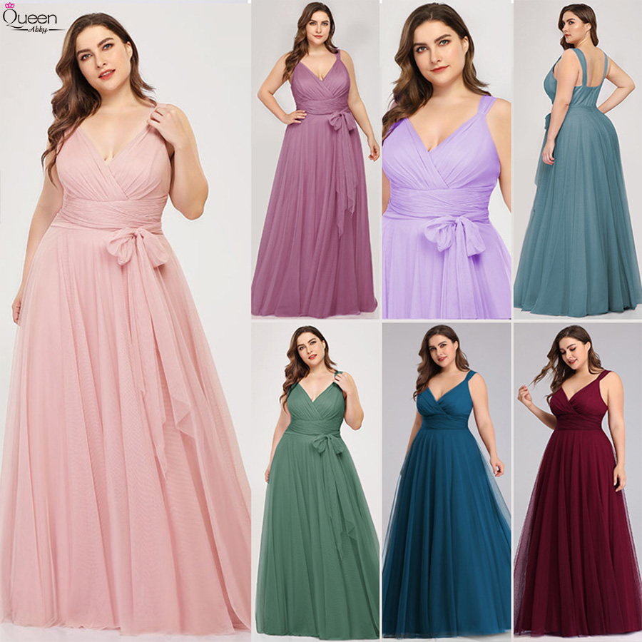 Plus Size Bridesmaid Dresses Long Tulle Blush Pink A-Line V-Neck Elegant Lavender Dress For Wedding Party Sexy Vestido Formatura