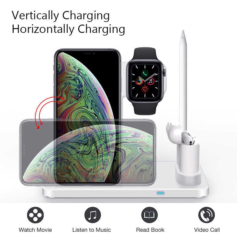 Cargador inalámbrico 4 en 1 carga rápida de 10W para iPhone 11/11pro/X/XS/XR/Xs Max/8/8 Plus para Apple Watch 5 4 3 2 Airpods lápiz
