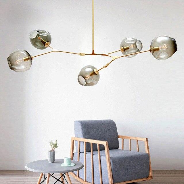 Dropshipping nórdico moderno pingente luzes designer de vidro pedante lâmpadas arte decoração luminárias para barra jantar sala estar