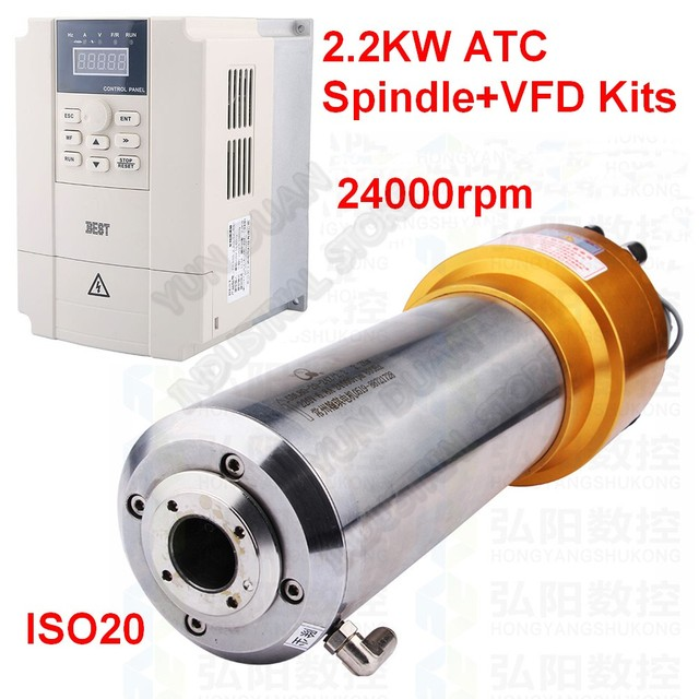ATC Spindle 2.2KW 3HP ISO20 AC 220V 800HZ Automatic Tool Change NPN PNP Spindle Motor with  Inverter VFD Kits CNC Router Han Qi