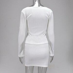 Image 5 - Colysmo מצולעים לסרוג 2 חתיכה להגדיר נשים Bodycon ארוך שרוול רוכסן חולצות מוצק מיני חצאיות סט Slim מסיבת שתי חתיכה סט מועדון תלבושת