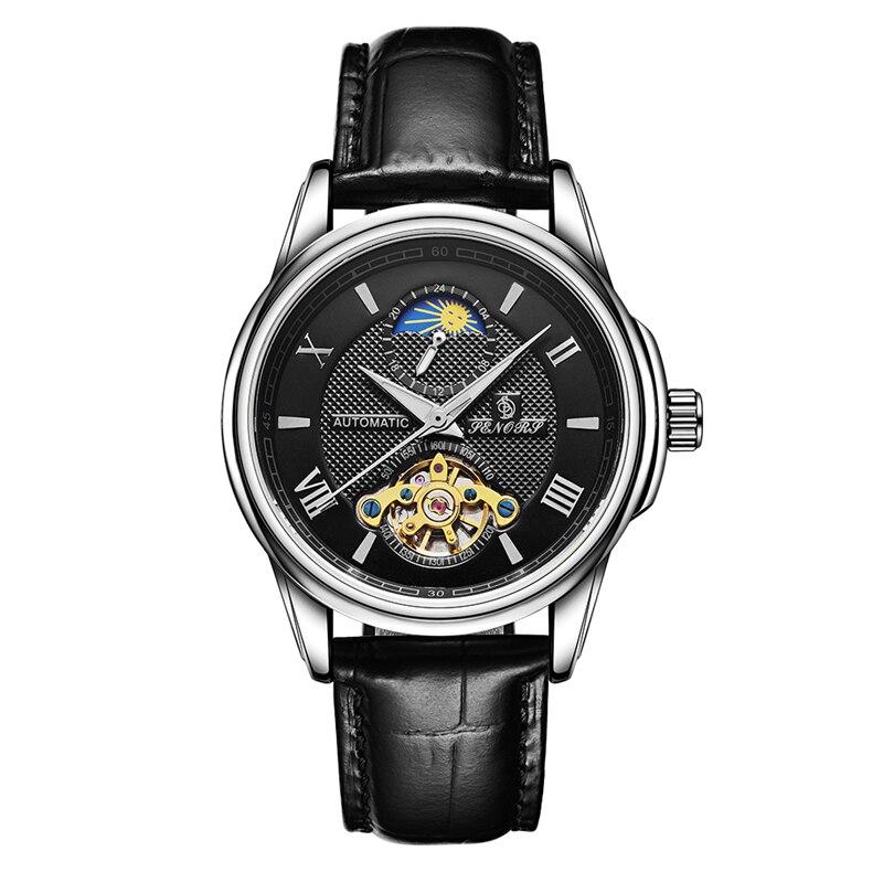 Senors Luxury Automatic Men's Watch Silver Skeleton Mechanic Clock Male Genuine Leather Bracelet Glass Back See Through