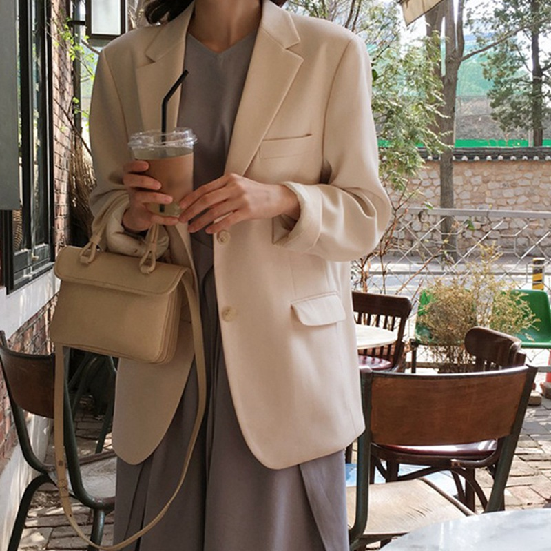 2020 New Women Spring Fall Solid Color Jacket Casual Long Sleeve Slim Warm Lapel Coat Blazer