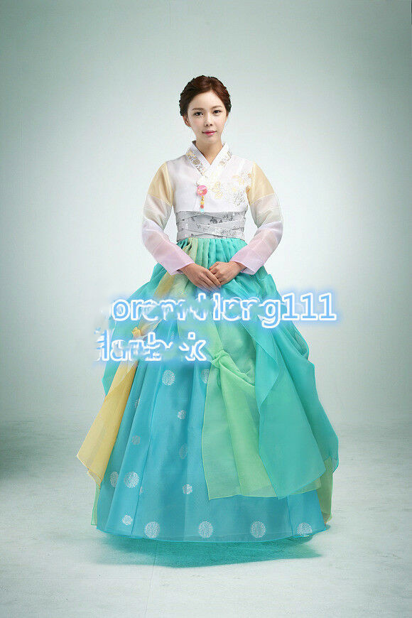 Women Hanbok Dress Custom Made Korean Bride Modern High Waist Modern Hanbok