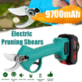 98V Electric Pruning Shears Cordless Secateur Rechargeable Pruning Scissors 30mm Pruners Garden Cutting Tools With 2 Batteries