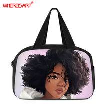 WHEREISART Women Travel Bags Handbags Fashion Portable Luggage Bag Afro Girls Print Duffel Waterproof Weekend Duffle