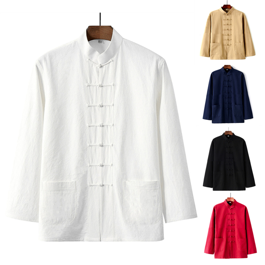 Man Chinese Traditional Shirt 5Colors Long Sleeve Tang Suit Top Buckle Pocket Kung Fu Uniform Linen Retro Tai Chi Clothing