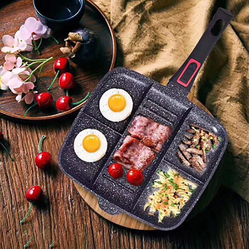 Induction Cooker Non-stick Pan Egg Pancake Frying Tray Household Kitchen Cookware Divided Roasting Pan Steak Cooking Pot