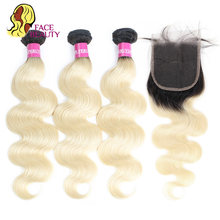 Tissage en lot brésilien Remy naturel Body Wave-Facebeauty | Racines foncées deux tons, blond ombré 1B/613, avec Lace Closure de 5x5