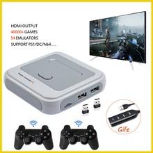 Retro mini tv/vídeo game console para ps1/n64/dc embutido 50 emuladores com 41000 jogos suporte hdmi para fora com gamepad sem fio
