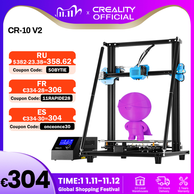 CREALITY 3D Upgrade CR 10 V2 Printer Size 300*300*400mm,Silent Mainboard Resume Printing with Mean well Power Supply