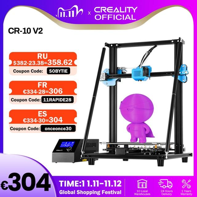 CREALITY CR 10 de actualización 3D para impresora V2, tamaño de impresora 300x300x400mm, placa base silenciosa, hoja de impresión con fuente de alimentación Mean well