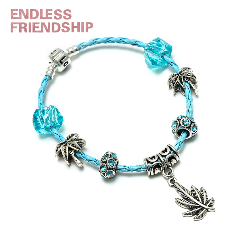 Fashion Leaves Dangle Diy Charm Bracelet Blue Rope chain with Bright Beads Brand Bracelet for Women Jewelry Accessories in Charm Bracelets from Jewelry Accessories