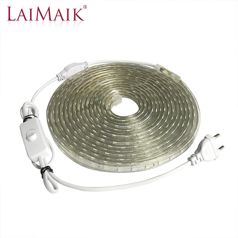 SMD 5050 AC 220V LED Strip With Switch Waterproof LED Strip Light 220 V LED Strip 220V Led Tape White 3m 5m 10m 15m Led Ribbon