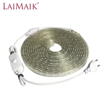 LAIMAIK AC220V LED Strip Light Waterproof with ON/OFF switch Flexible smd5050 outdoor tape ip67 for Kitchen led plug lights