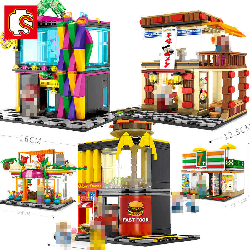 Large Cafe Coffee Cake Shop Restaurant Street Building Bricks Toys Construction