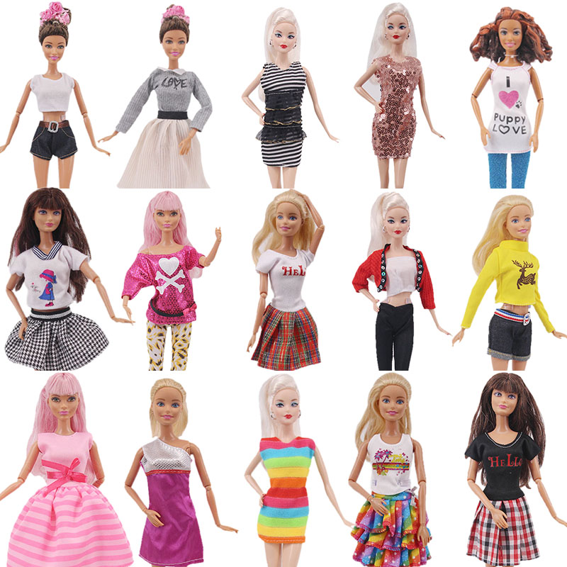 <font><b>15</b></font> Types Fashion Multicolor Outfit Wave Point <font><b>Dress</b></font> Shirt Denim Grid Skirt Daily Casual Wear Accessories Clothe <font><b>for</b></font> Barbies Doll image