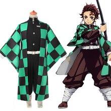 Аниме Demon Slayer Косплей Kimetsu no Yaiba Tanjiro Kamado Униформа костюм для косплея мужской кимоно для наряд для хэллоуинской вечеринки CS001