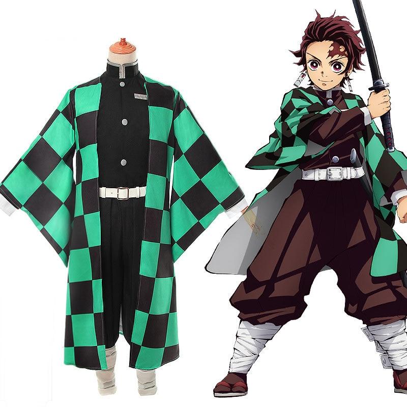 Anime Demon Slayer Cosplay Kimetsu No Yaiba Tanjiro Kamado Uniform Cosplay Costume Mens Kimono For Halloween Party Outfit CS001