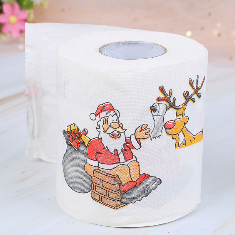 1Roll New Year 2019 Santa Claus Reindeer Print Christmas Toilet Paper For Table Home Decor Gifts