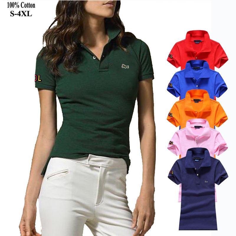 High quality 2020 New Women's short sleeve polos shirt 100% cotton Casual Ladies Fashion Brand polos shirt womens slim tops Polo Shirts  - AliExpress