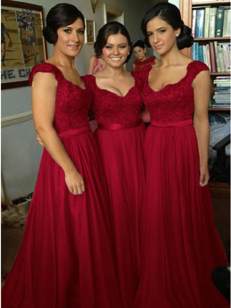 Burgundy Long   Bridesmaid     Dress   2019 Lace Appliques Cap Sleeves Chiffon A-Line Maid Of Honor   Dress   Prom   Dress   Wedding Guest Gowns