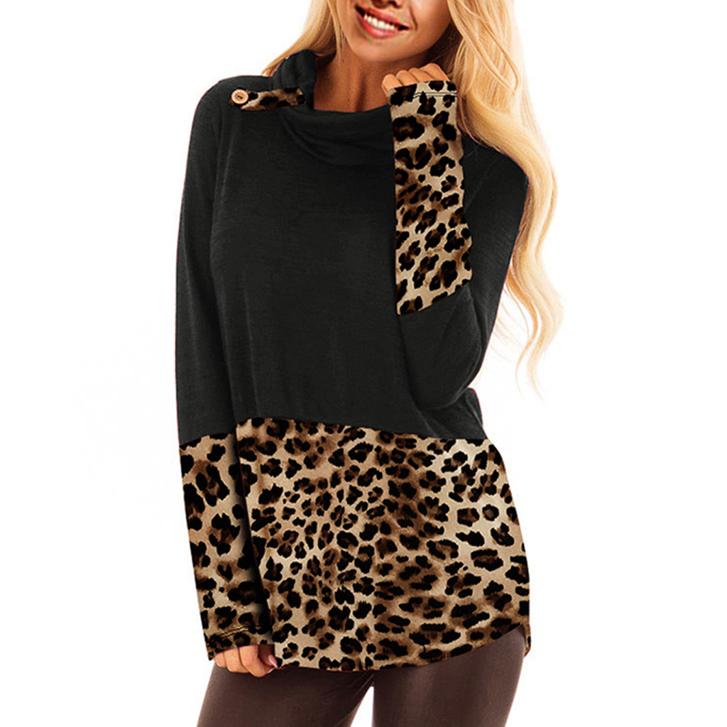 Leopard Patchwork Women Sexy Plus Fashion Sweatshirt Casual Hoodies Collar Long Sleeve Pullover Sweatshirt Blouse Tops толстовка