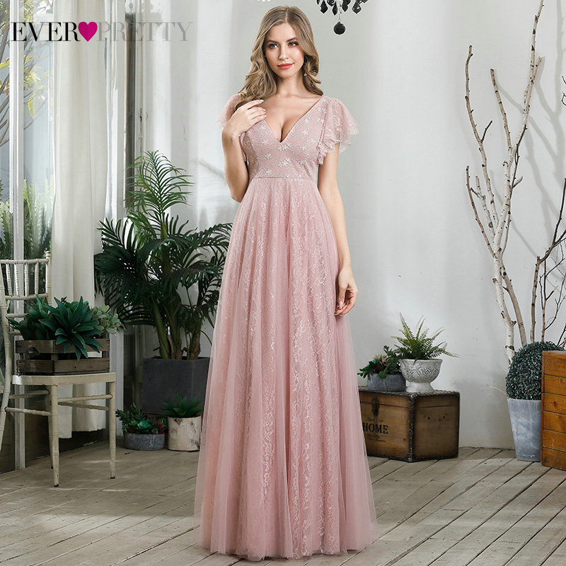 Elegant Lace Prom Dresses Ever Pretty EP00857PK A-Line Ruffles Sleeve Deep V-Neck Tulle Long Party Gowns Vestido De Festa 2020