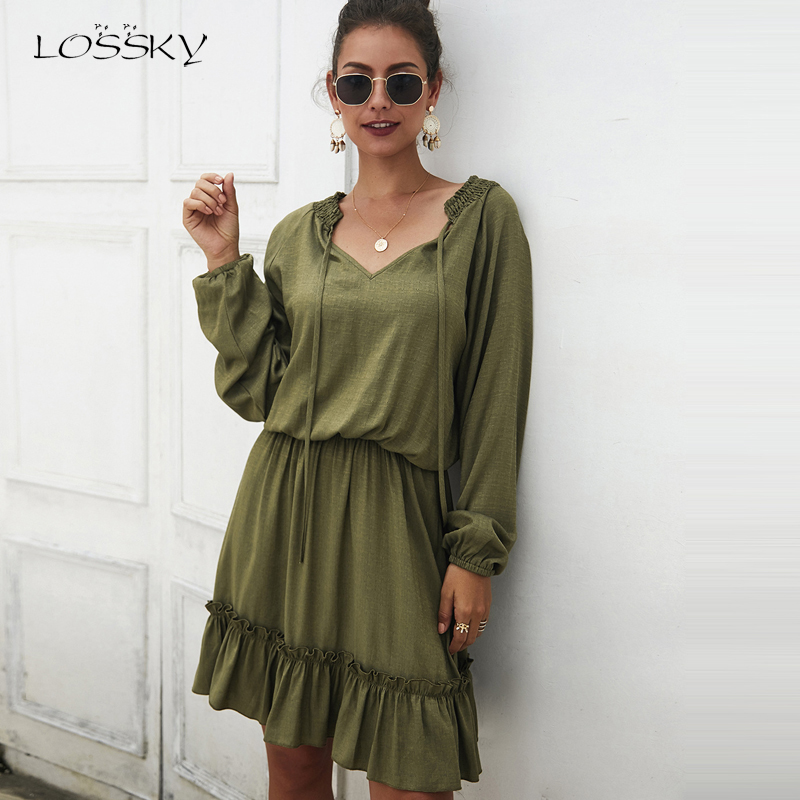 Lossky Women Dress 2019 Ruffles Mini Dresses Fashion Autumn Long Sleeve Casual V-Neck Lace Up Short Dress Ladies Wear Clothing
