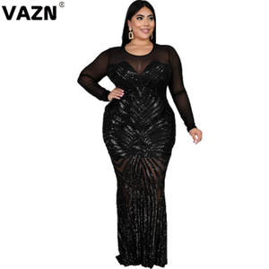 VAZN 2020 High Quality Plus Size Sequined Flaring Sexy Party Patchwork Lace Full Sleeve Thin High Waist Women Maxi Dress