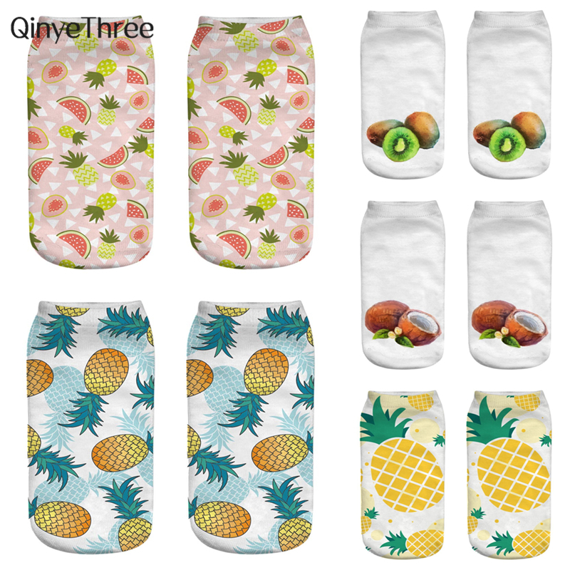 New Fashion 3D Printing Socks Tropical Fruit Painting Sock Watermelon Pineapple Banana Avocado Coconut Strawberry Sokken