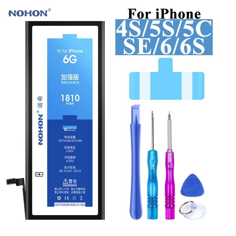 Nohon Li-polímero Bateria Para Apple Iphone Se 4S 5S 6s Iphonese Baterias De Alta Capacidade + Ferramentas Para Iphone Se 4S 5c 6s Bateria