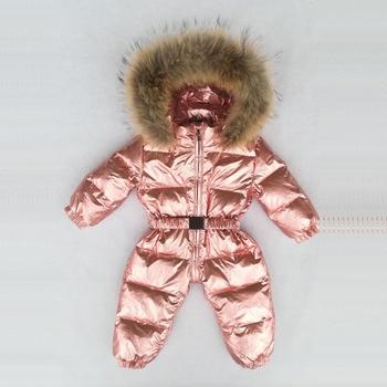 2019 Winter Thicken Warm Baby Kids Down Jumpsuits Faux Fur Hooded Children Romper Glossy Zipper Boys Girls Jumpsuits 12M-4T