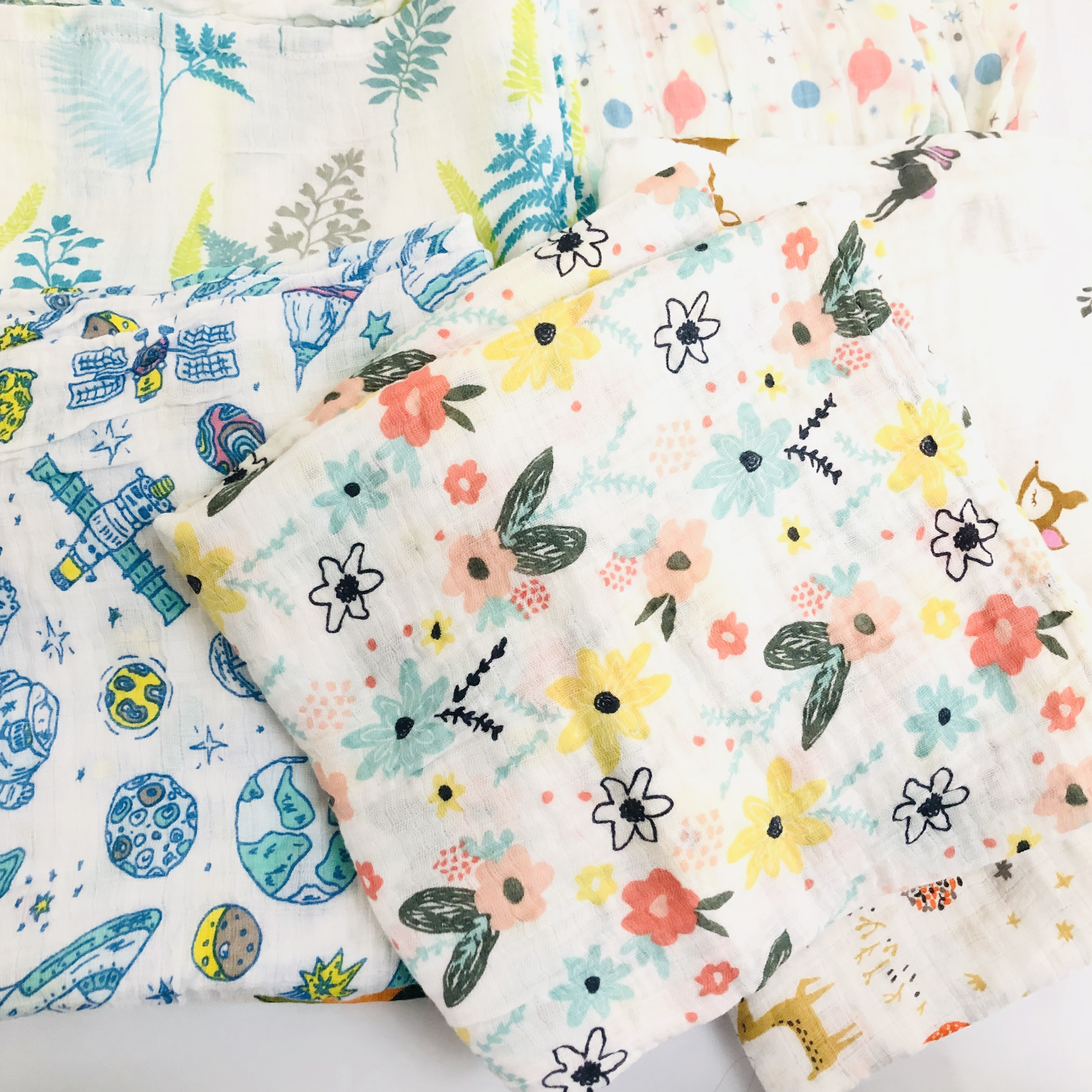 120cm Muslin Swaddle Blanket 100% Cotton Baby Swaddles Newborn Blankets Bath Gauze Infant Wrap Sleepsack Stroller Cover Diaper