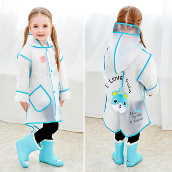 Children's Raincoat Girl's Raincoats Child Poncho Waterproof Rain Poncho Rain Gear EVA hooded Transparent Baby Boys Rainwear