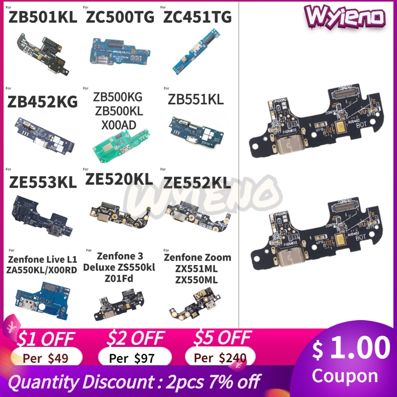 For ASUS <font><b>Zenfone</b></font> Live L1 3 Zoom S Deluxe <font><b>Go</b></font> ZB500KL ZB452KG ZB501kl ZA550KL <font><b>USB</b></font> Dock Charging Charger Port Flex Cable MIC Board image