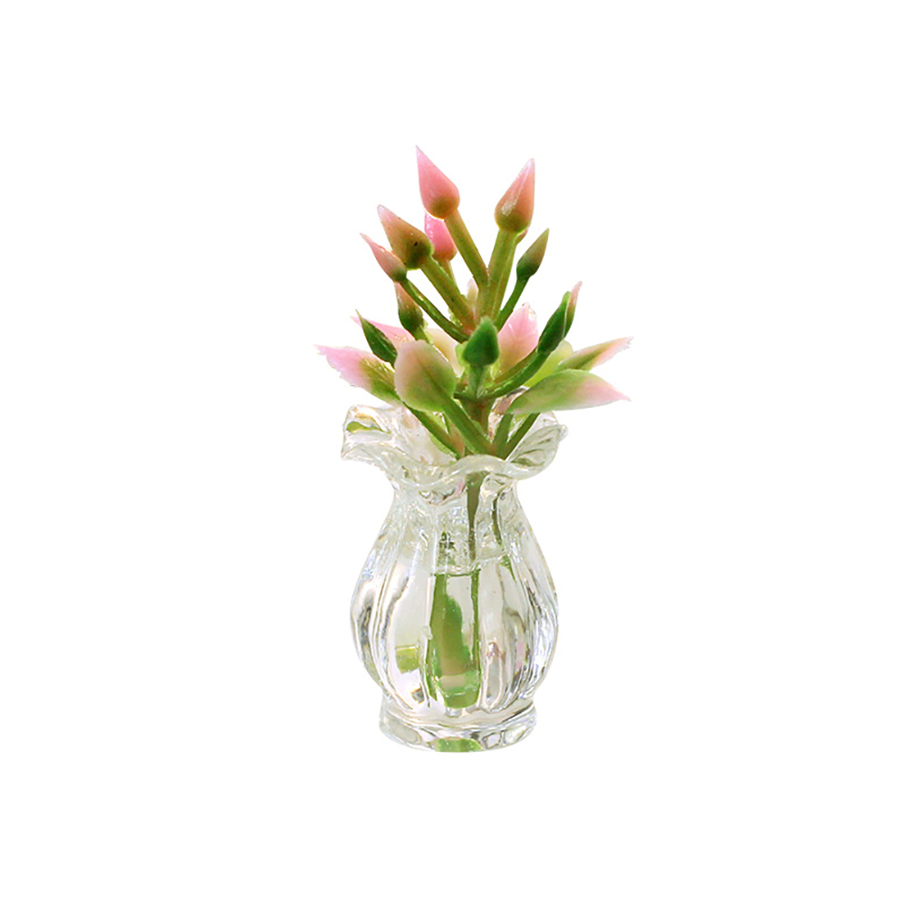 1/12 Dollhouse Miniature Accessories Mini Resin Vase With Flower Simulation Flower Arrangement Model Toys Doll House Decoration