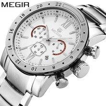 MEGIR Luminous Quartz Watches Stainless Steel Strap Fashion