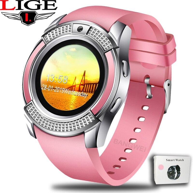 LIGE 2019 Nova Mulheres Relógio Inteligente LEVOU Cor Da Tela Moda Esporte Pedômetro Relógio Inteligente Android Telefone Do Relógio Relogio inteligente + caixa